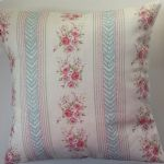 "Cushion Cover in Clarke and Clarke Rose Stripe Aqua 14"" 16"" 18"" 20"""
